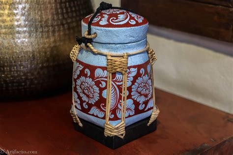 Handmade Rice Box - small made thai rice box with light blue floral