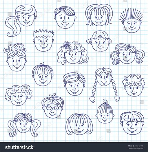 how to do smiley on doodle fit set of smiley children faces doodle style illustration on