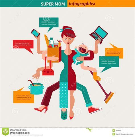 Mother Daughter House Plans Super Mom Illustration Of Multitasking Mother Stock