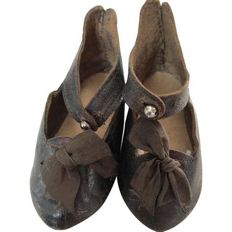 black jumeau doll jumeau black leather doll shoes size 11 from silkie