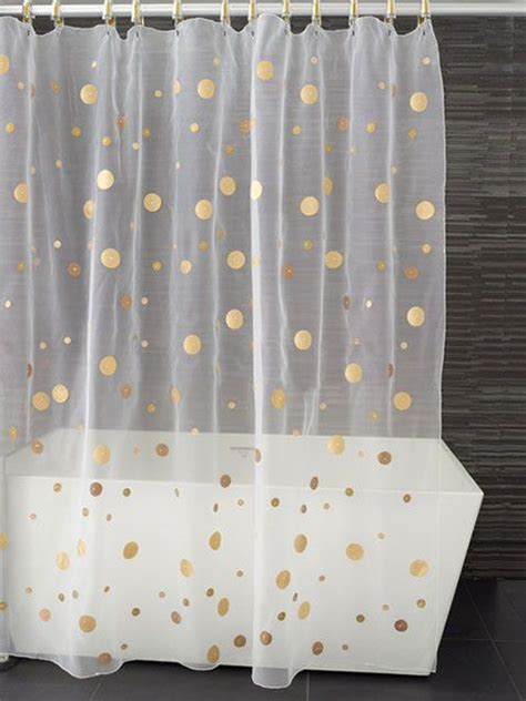 Polka Dot Sheer Curtains Gold Polka Dot Sheer Shower Curtain Bathroom Things Pinterest