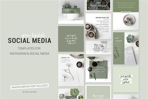 social media templates design green lifestyle social media templates design bundles