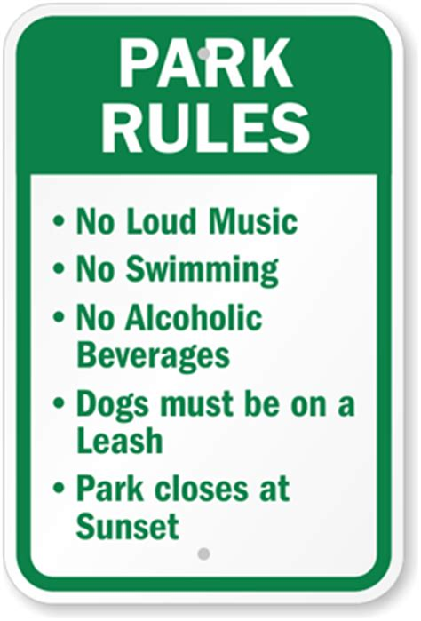 rules of swinging park rules sign playground rules sign sku k 5255