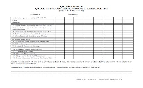 qc template dental radiography qa and qc