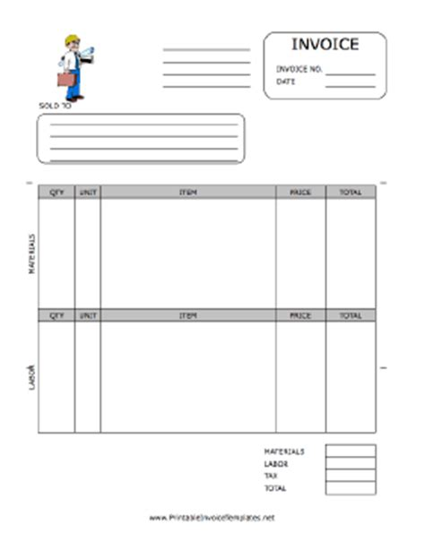 Contractor Invoice Template Free Printable Construction Invoice Template