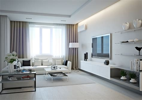 cream white room small apartment design for couples with white color scheme