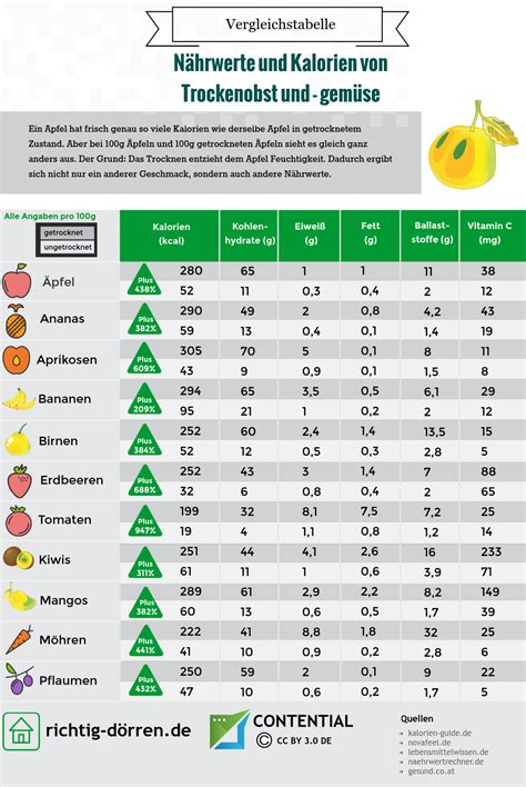 kalorien tabelle kalorientabelle sind getrocknete fr 252 chte gesund infografik