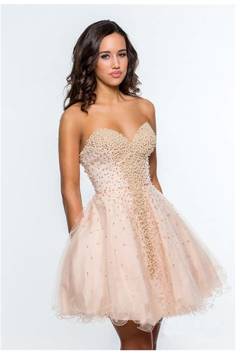 beaded homecoming dresses gown sweetheart blush pink tulle beaded pearls