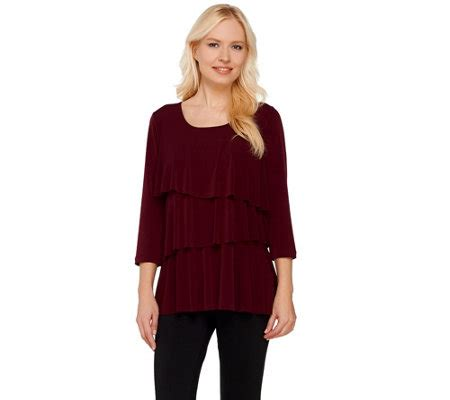 susan graver liquid knit susan graver liquid knit tiered 3 4 sleeve top page 1