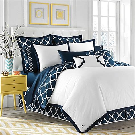 navy bedding jill rosenwald hton links reversible duvet cover in