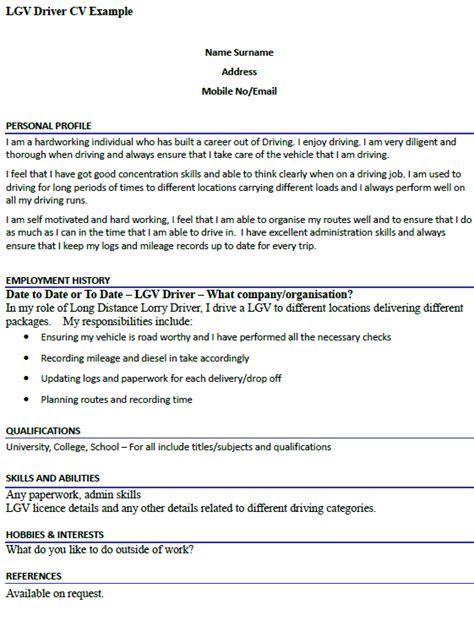 Cv Template 2015 Uk Lgv Driver Cv Exle Icover Org Uk