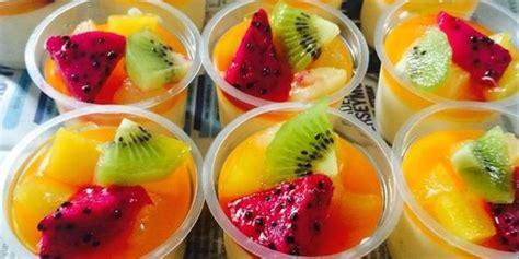 resep puding sutra buah sirup jeruk lembut lumer  mulut