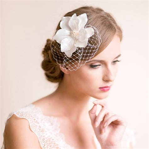 Wedding Hair With Headpiece by Bridal Fascinator With Magnolia Flower Bridal Headpiece