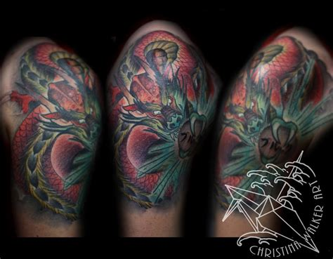 japanese quarter sleeve tattoo designs japanese dragon quarter sleeve by christina walker tattoos