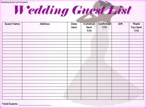 wedding guest list spreadsheet template 17 wedding guest list templates excel pdf formats