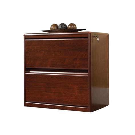 Sauder Cornerstone 2 Drawer Lateral Wood File Cabinet In Cherry Wood Lateral File Cabinet