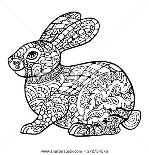 coloring pages for adults bunny rabbit tattoo stock vectors vector clip art shutterstock