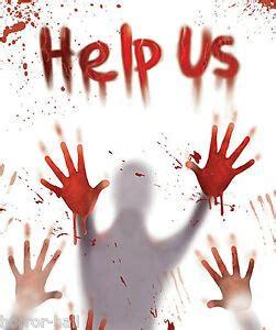 bloody victim body hand prints   door cover wall