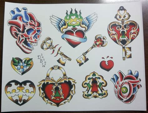 tattoo flash cards hearts and keys traditional tattoo flash sheet