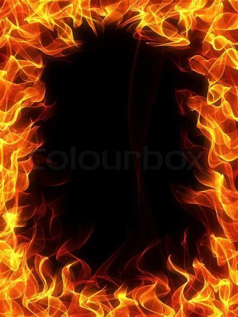Feuer und Flamme Rahmen auf schwarzem Hintergrund   Stock