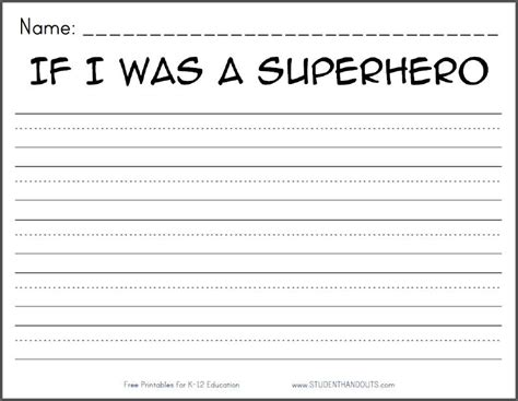 if i was a superhero free printable k 2 writing prompt