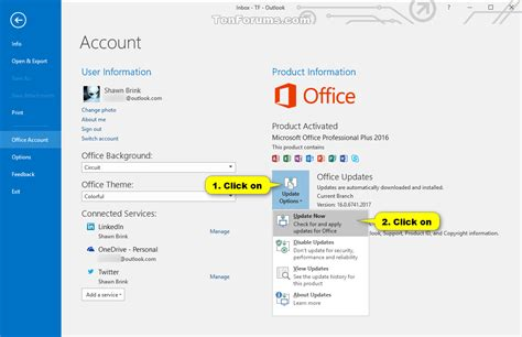 Update Office by Office 2016 Check For Updates In Windows Windows 10 Forums