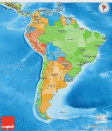 political 3d map of south america physical outside
