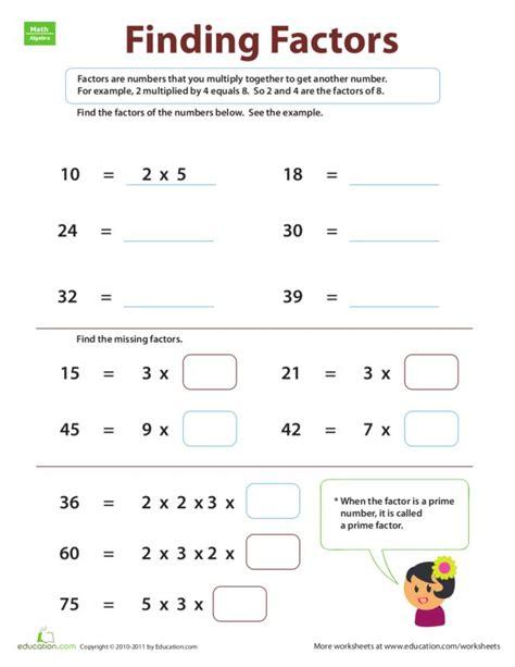 Factor Worksheets 6th Grade by Finding Factors Worksheet Lesupercoin Printables Worksheets