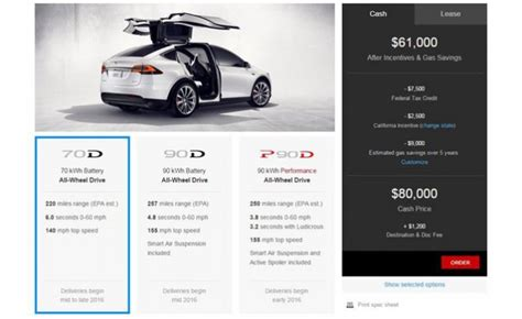 How Much Tesla Car Cost Tesla Model X Priced Before Incentives From 81 200