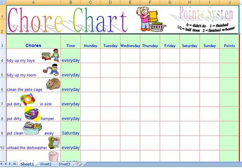 Household Chore Chart Template by Family Daily Chore Chart Template Free Formal Word Templates