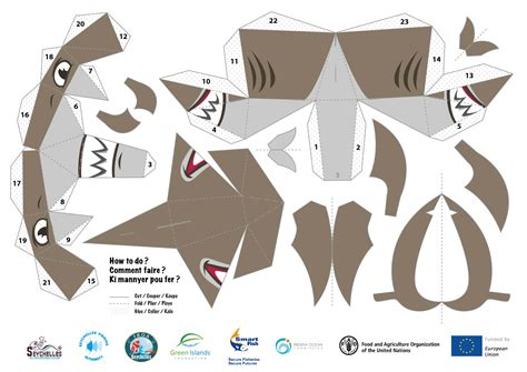 card board shark template fishing boat owners association papertoys paper toys