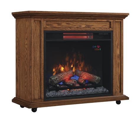 electric fireplace and mantle 33 quot infrared premium oak rolling mantel electric fireplace