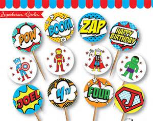 Superhero cupcake toppers etsy