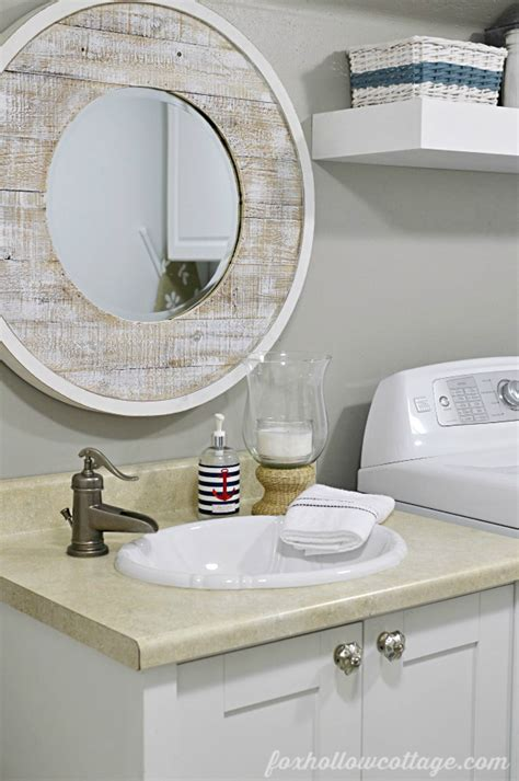 Nautical Mirror Bathroom | nod to nautical bathroom makeover reveal fox hollow cottage