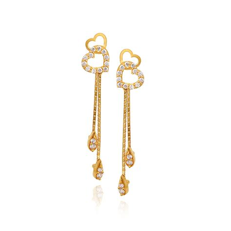 earings desing 22kt hanging hearts with dancing drops gold earrings 31