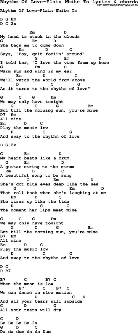 swing to the rhythm of love chords love song lyrics for rhythm of love plain white ts with