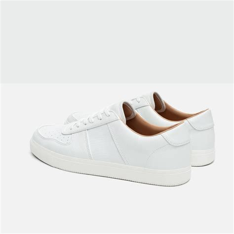 white sneakers for zara brogue detail sneakers in white for lyst