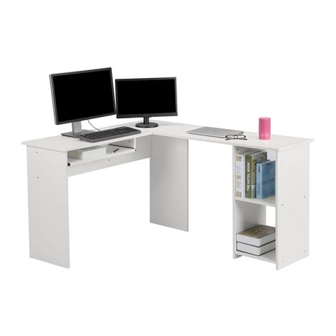 Corner Workstation Desk Langria Wood L Shape Corner Computer Desk Pc Table Workstation Home Office White Ebay