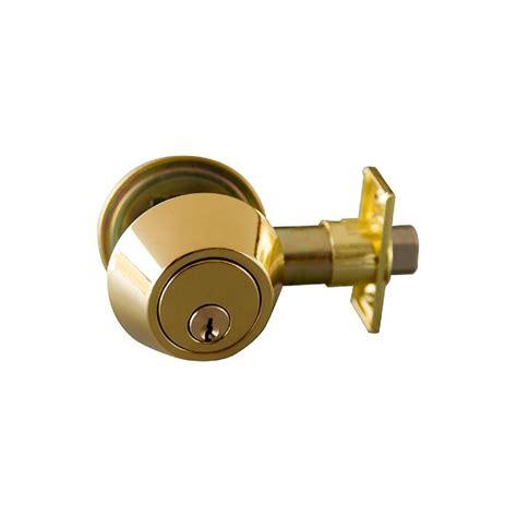 design house deadbolt design house double cylinder polished brass deadbolt