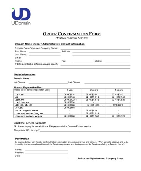 Contract Confirmation Letter Sle Sle Order Confirmation Form 10 Free Documents In Word Pdf