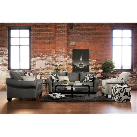 Colette Sofa Loveseat And Accent Chair Set Gray Value Living Room Sofa And Chair Sets