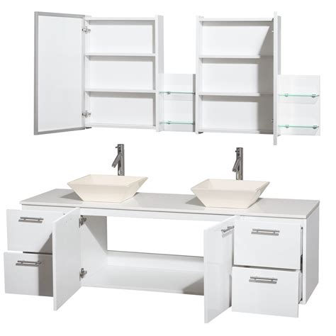 Glossy Pyra wyndham collection 72 inch bathroom vanity in glossy white white made
