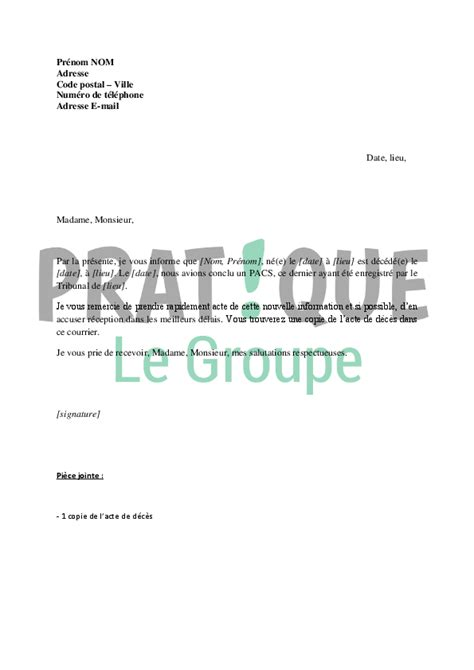 Exemple De Lettre Lors D Un Deces Modele Testament Deces Document