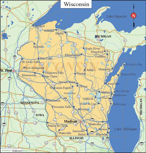 wisconsin state map wisconsin printable maps