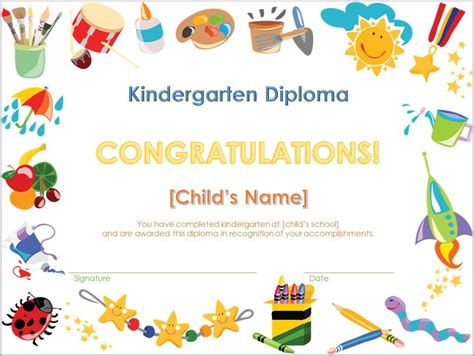 pre k award certificate templates screenshot of the kindergarten diploma template