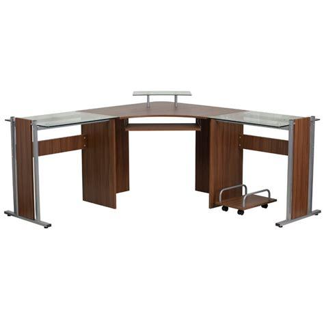 Glass Laminate Corner Computer Desk In Teak Nan Wk 105 Gg Teak Computer Desk