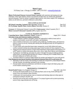 School Counselor Resume Exles by Sle Guidance Counselor Resume 8 Free Documents In Word Pdf