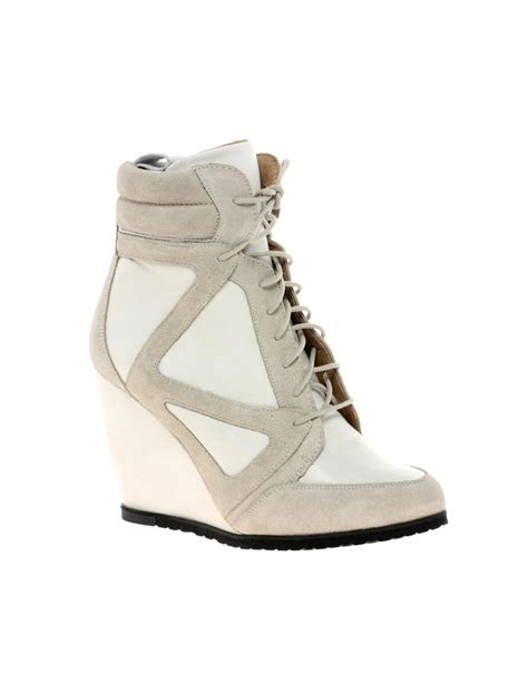asos asos ark leather wedge ankle boots in white offwhite