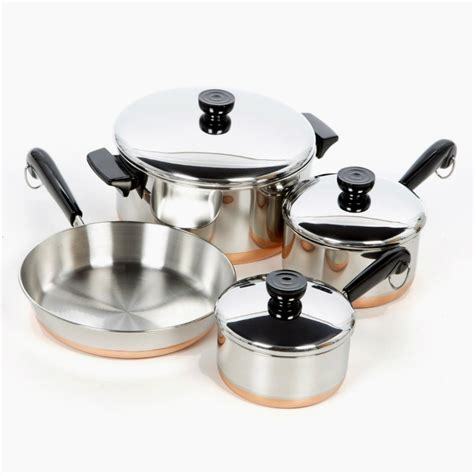 set copper bottom cookware 7 pieces stainless steel