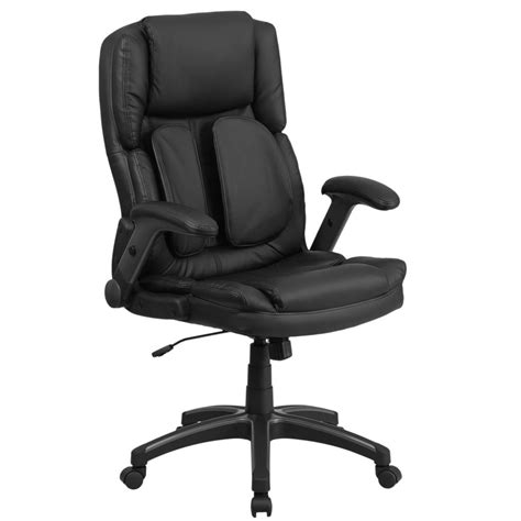 high  black leather executive swivel office chair  outer lumbar support  flip  arms